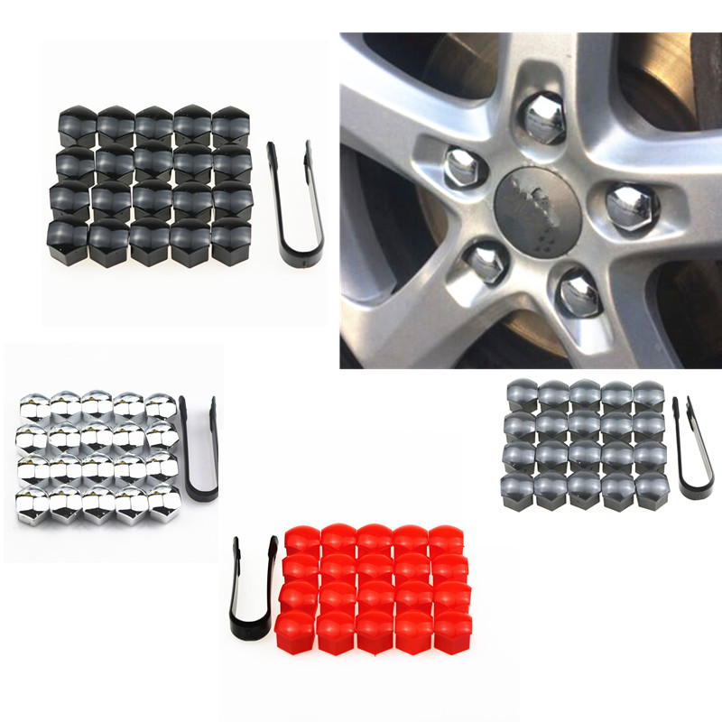20pcs 17mm Wheel Lug Nut Center Cover Caps + Removal Tool for VW Golf Passat Cabrio Audi A1 A3 A4 Q5 Q7 TT Car Styling image