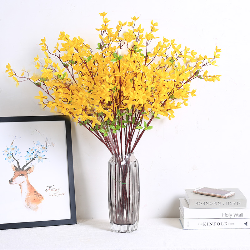 Yellow Winter Jasmine Artificial Flowers with Green Leaf Table Home Wedding Decor DIY Supplies Silk Fake Flower Holiday Gift