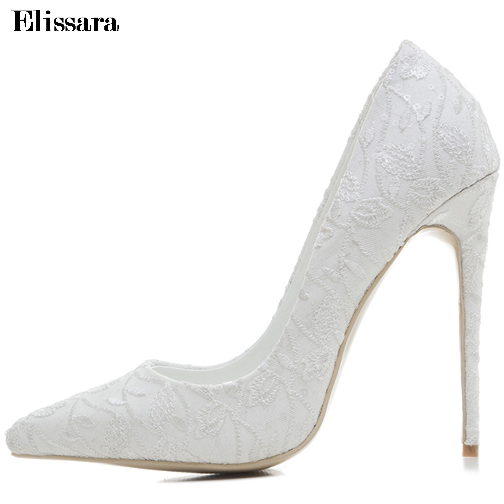 Women White Wedding Bridal Shoes for Women Sexy Stilettos High Heels Party Pumps Shoes Female Shoes Plus Size 33-43 Elissara new arrival white wedding shoes pearl lace bridal bridesmaid shoes high heels shoes dance shoes women pumps free shipping party