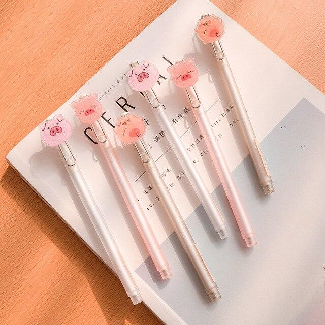 36 pcs Canetas Gel Kawaii Pequeno Porco Cor de Rosa preto colorido gel-inkpens para escrever Caneta Gel Bonito dos artigos de papelaria do escritório material escolar