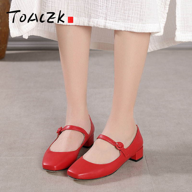 Summer Handmade Retro Square Head Chunky Heel Casual Women's Shoes Mary Jane Red Leather Shoes