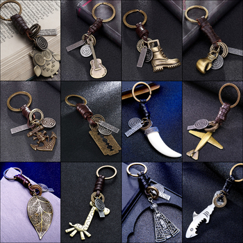 2020 Fashion women men jewelry keychain New Owl handbags pendant genuine leather key chain chains ring holder chaveiro wholesale