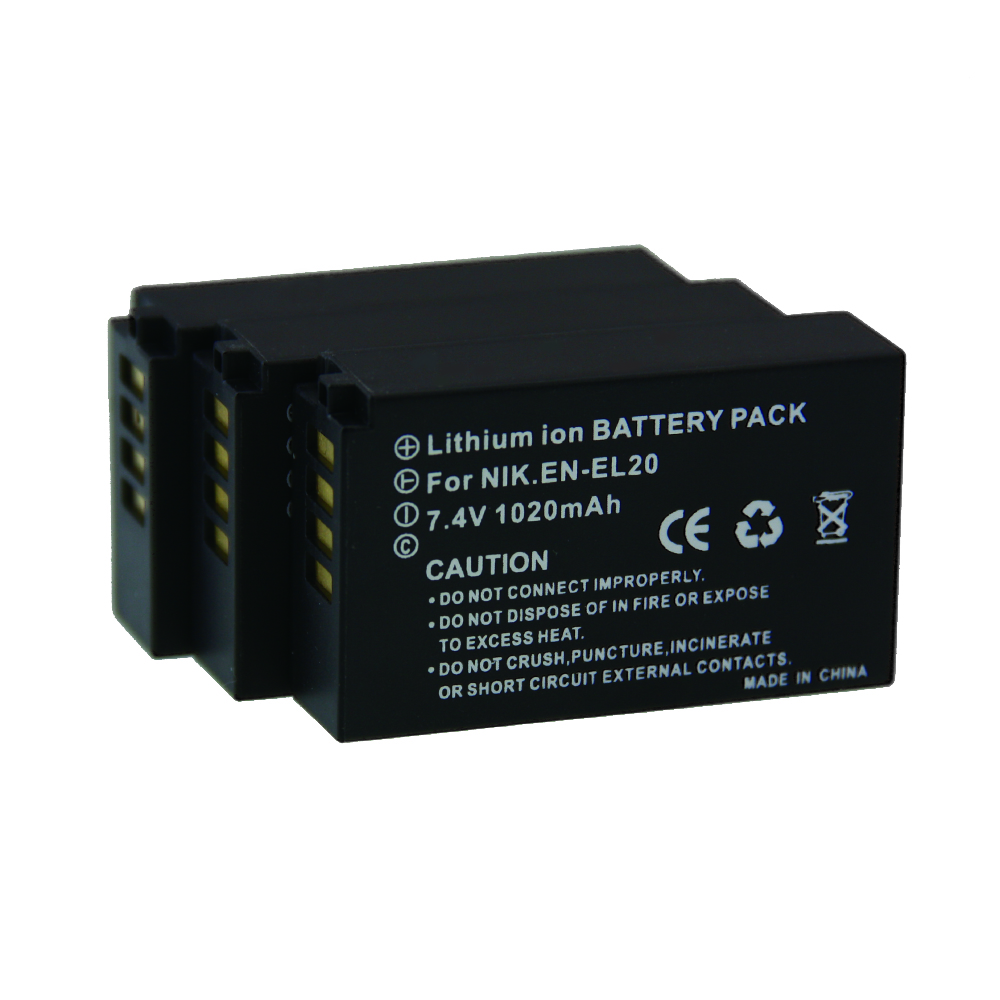 Hot 3PCS /lot 7.2V 1020mAh EN-EL20 EN EL20 ENEL20 Batteries Rechargeble thin Digital Camera Battery For Nikon J1 dslr 2 J3 S1