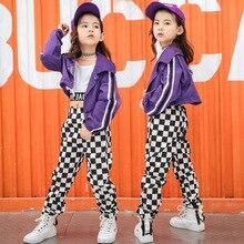 Детские костюмы в стиле хип-хоп для девочек; Модная одежда для джазовых бальных танцев; одежда для выступлений; танцевальный костюм для сцены; костюмы для выставки