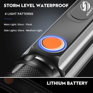 Image 5 - Multifunctional LED Flashlight USB Inside rechargeable battery Powerful T6 torch Side COB light design flashlight tail magnet