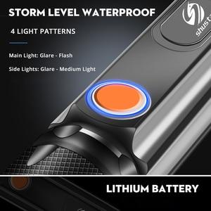 Image 5 - Многофункциональный светодиодный светильник вспышка с USB внутри, перезаряжаемый аккумулятор, Мощный T6 фонарь, боковый COB светильник, дизайнерский фонарь, задний фонарь