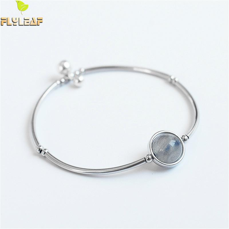 Flyleaf Nature Crystal Moonstone Bead Bell Real 925 Sterling Silver Bracelets For Women Fashion Fine Jewelry Bracelets & Bangles