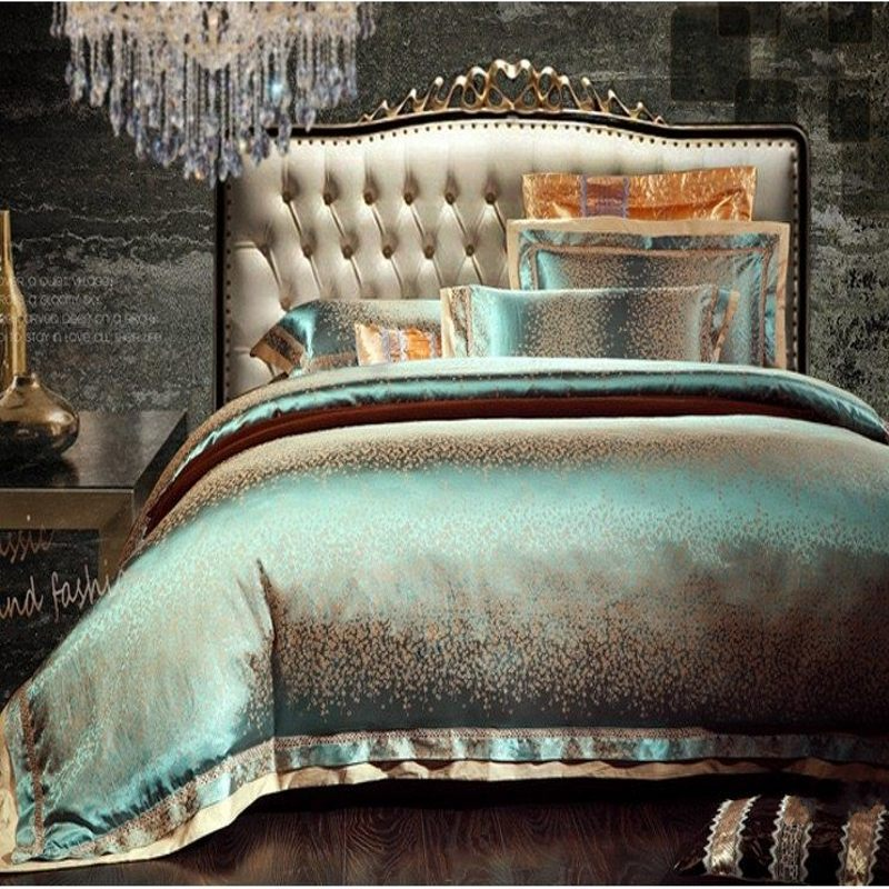 Green Satin Bedding Set King Queen Size 4pcs Jacquard Silk