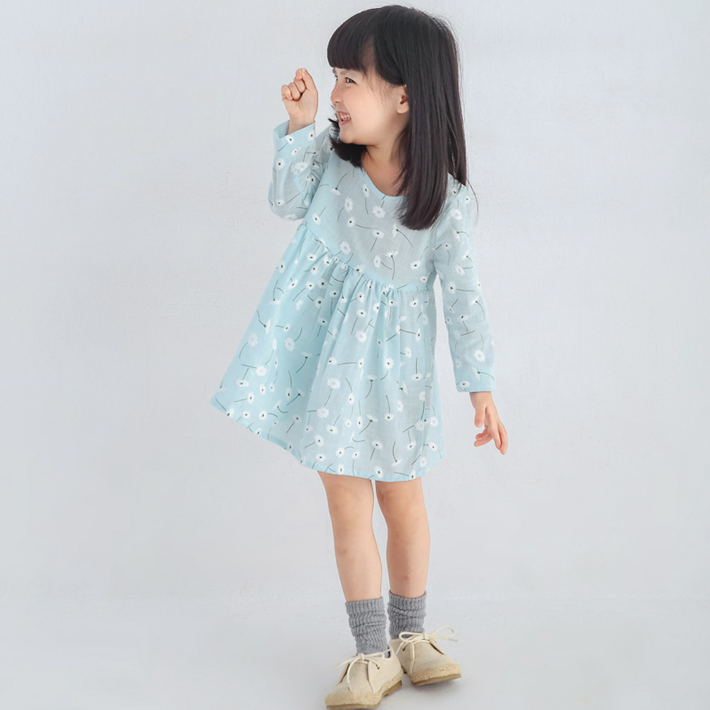 Baby Girls Cute Floral Printed Mini Dresses Spring Autumn Long Sleeve Princess Lovely Dresses Kids Costume Children Clothes