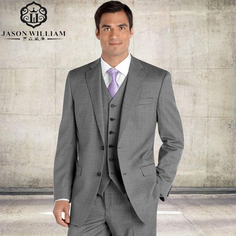 LN014 2017 Custom Made Groom Tuxedo silver Suit peaked Lapel Best man Groomsman Men Wedding Prom Suits Jacket+Pant+vest