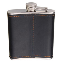High Quality 7oz Stainless Steel Hip Flask Flagon Whiskey Wine Pot Leather Cover Bottle + Funnel Travel Tour Barware