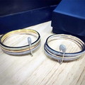 Designer Fashion 925 Sterling Silver Jewelry Platinum/3-Tone Plated 3A Cubic Zirconia Party Bangle