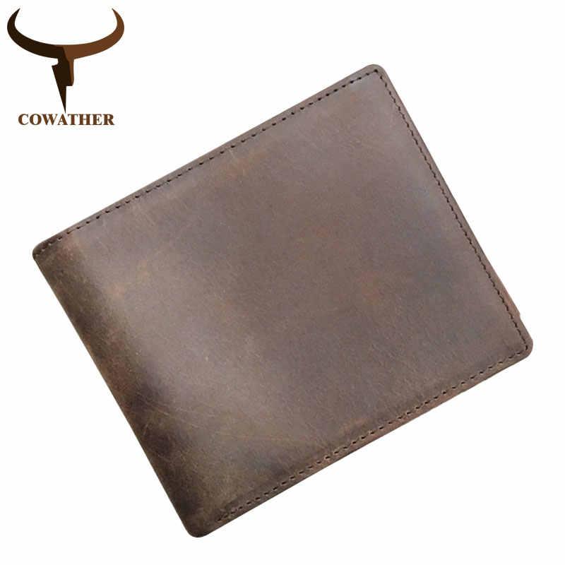 2d0e4f9fcd9a ... COWATHER 100% Топ Корова Натуральная кожа кошельки модные короткие мужские  кошелек для мужчин новый дизайн ...