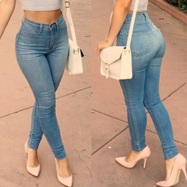 Female 2019 Women Casual Pants Skinny Elastic Full Length Zipper Fly Middle Waist Trousers Casual Fashion Ladies Pencil Jeans -N(China)