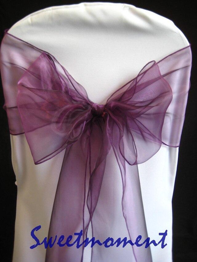100 púrpura boda Organza silla faja cristal hilo silla cubierta fajas envío gratis