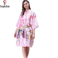 Sexy Wit Roze Gedrukt Vrouwelijke Knielengte Zijden Gewaad Kimono Rayon Yukata Night Toga Bloem De Ouden Sml XL SY27