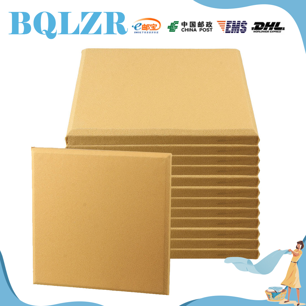 BQLZR 12 Pieces Light Yellow 30x30x2.5cm Home Deco Sound Absorbing Panels modern creative acryl aluminum led mirror lamp for bathroom living room waterproof anti fog 40cm 12w mirror light 2130