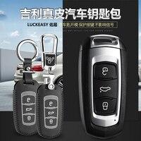 luckeasy leather key cover for Geely emgrand EC7 EC718 EC715 Global Hawk GX7 Car Key bag/case wallet holder key2y