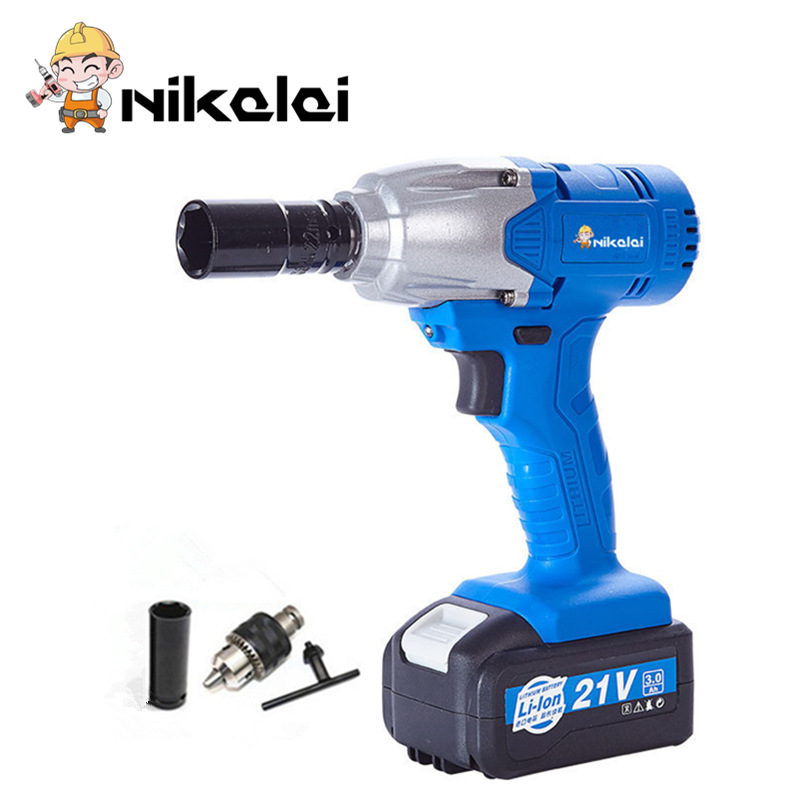 Nikalai 1 2 Li Ion 21v 3 0ah Lithium Battery Socket Wrench Electric Impact Car Tyre Wheel Cordless Drill Tool In Wrenches From