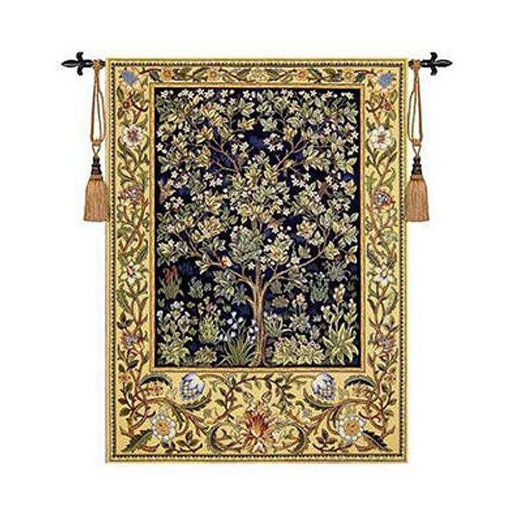 William Morris hayat ağacı mavi kırmızı yeşil 140 * 107 cm Aubusson duvar asılı Ev tekstili dekorasyon Dokuma Jakarlı goblen