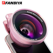 FANBIYA Mobile Phone Camera Lens 0.6x 4K Wide Angle Lenses 15x Macro 58mm Clip on Smartphone Android Lens for iphone samsung