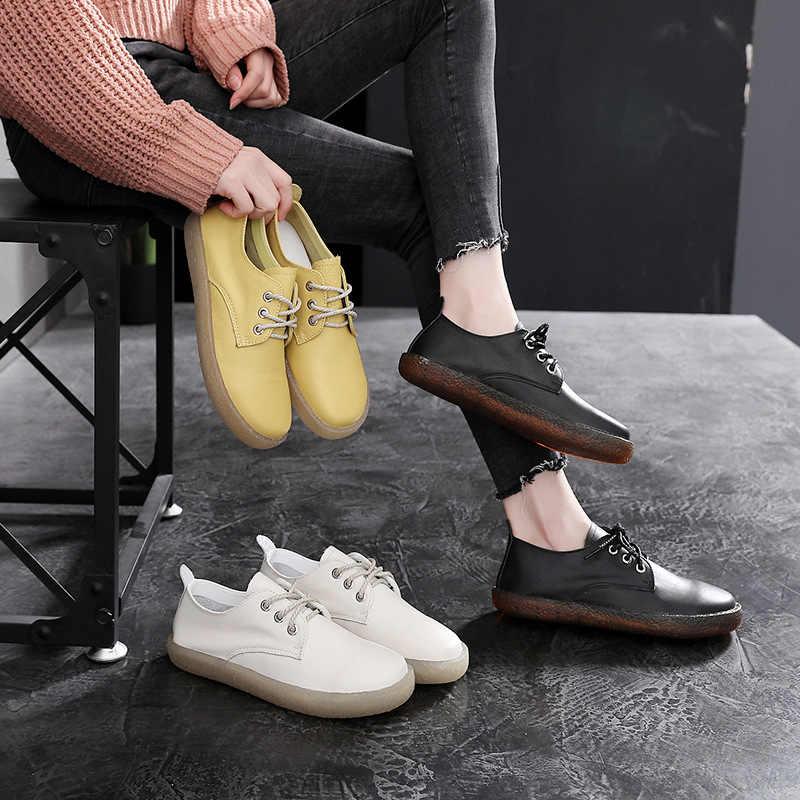 2019 yeni vahşi deri yumuşak alt düz ayakkabı rahat kaymaz analık ayakkabı yuvarlak kafa tendon alt kadın ayakkabısı.