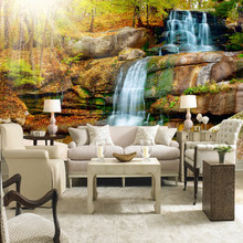 Custom Photo Wall Paper 3D Large Waterfall Stone Wall Painting Living Room Bedroom TV Backdrop Non-woven Straw Wallpaper Mural(China)