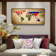 Modern Minimalistic Abstract World Flag Map Canvas Drawing Art Typographic Poster Picture Bedroom Living Room Decoration OT243