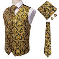Mens Formal Vest Set Silk Classic Wedding Necktie Waistcoat Vest Pocket Square Suit Set Gold Vests for Men Hi Tie VE 0008
