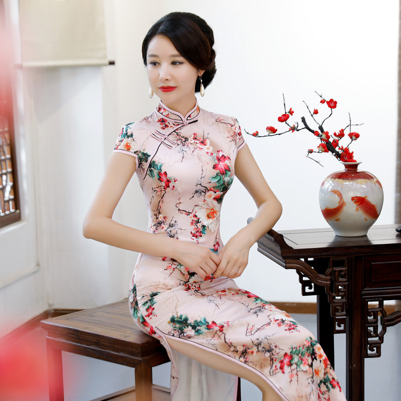 New <font><b>Sexy</b></font> Polyester Cheongsam 2019 Spring Vintage Chinese <font><b>Lady</b></font> <font><b>Dress</b></font> Fashion Womens Rayon Qipao Slim Party <font><b>Dresses</b></font> Button Vestido image
