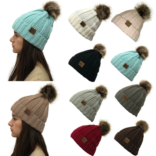 2e38ee6001b87 Lady s Winter Warm knitted hats Beanie CC with Cute Faux Fur Pom Pom Ball  Skully outdoor