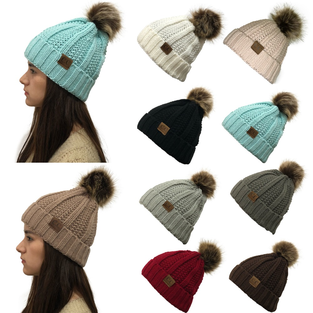 Lady's Winter Warm knitted hats   Beanie   CC with Cute Faux Fur Pom Pom Ball   Skully   outdoor Women casual ski caps