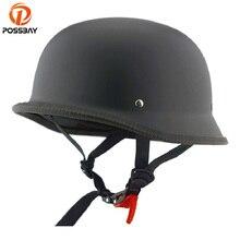 POSSBAY Vintage Motorcycle Helmet Retro German Half Face Helmet for Ch