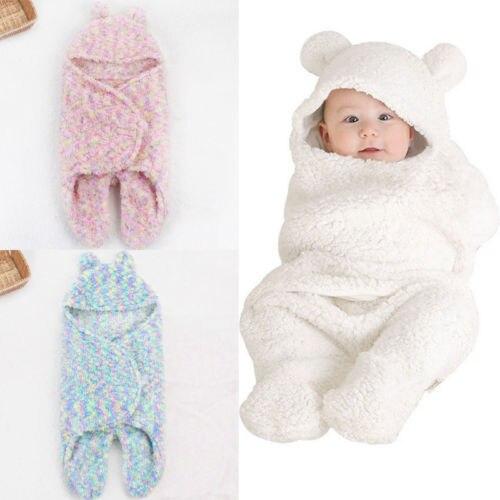 Baby Swaddle Wrap Warme Wolle Häkeln Gestrickte Neugeborenen Schlafsack Baby Windeln Decke Schlafen Taschen Baby Decke Neugeborenen