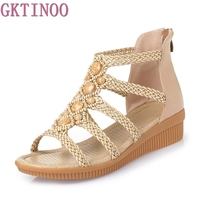 Fashion Women S Beach Sandals Summer Women Genuine Leather Sandals Bohemia Beaded Sandals Women Shoes Plus