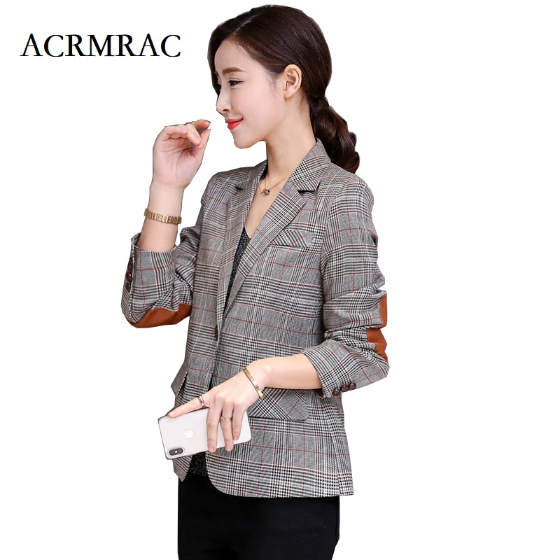 ACRMRAC Womens jacket New Spring and autumn Houndstooth Slim Women Blazers