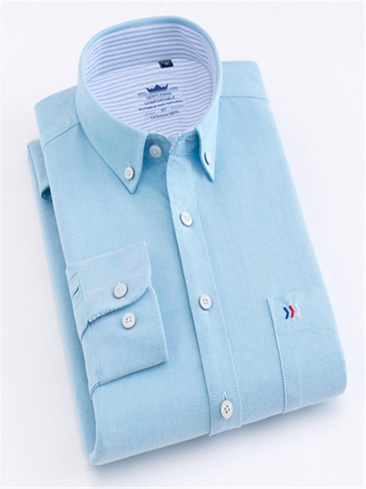 Image 5 - Мужские классические рубашки с длинным рукавом и одним передним нагрудным карманом из 100% хлопка, повседневные мужские топы на пуговицахРубашки для смокинга    АлиЭкспресс