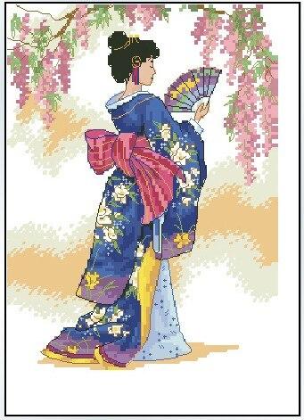 CS-003WM Cross Stitch Kit Geisha Japanese Woman Lady Girl with Fan Princess of Asia