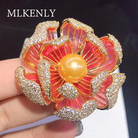 SHANICE Pave Setting High Level Cubic Zircon Enamel Lotus Flower Brooch Women Dresses Party Jewelry Accessory Silk Pin Button