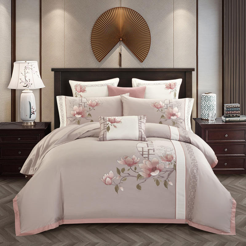 Bedding-Set Fitted-Sheet Rubber Embroidery Queen Parrure-De-Lit Egyptian Cotton Classical