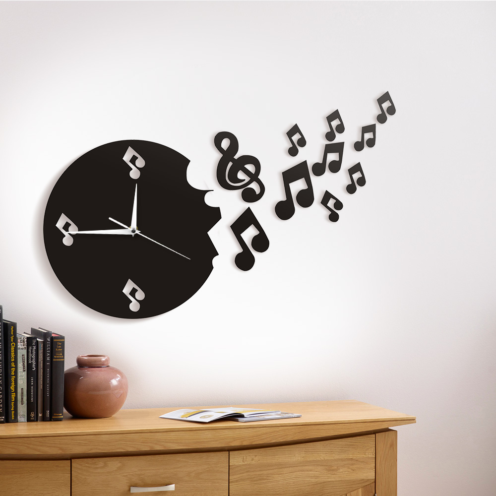 1Piece Musical Note Flew From Wall Clock Flying Music Notes Modern Design Wall Watch T Art Music Studio For Music Lover Gift