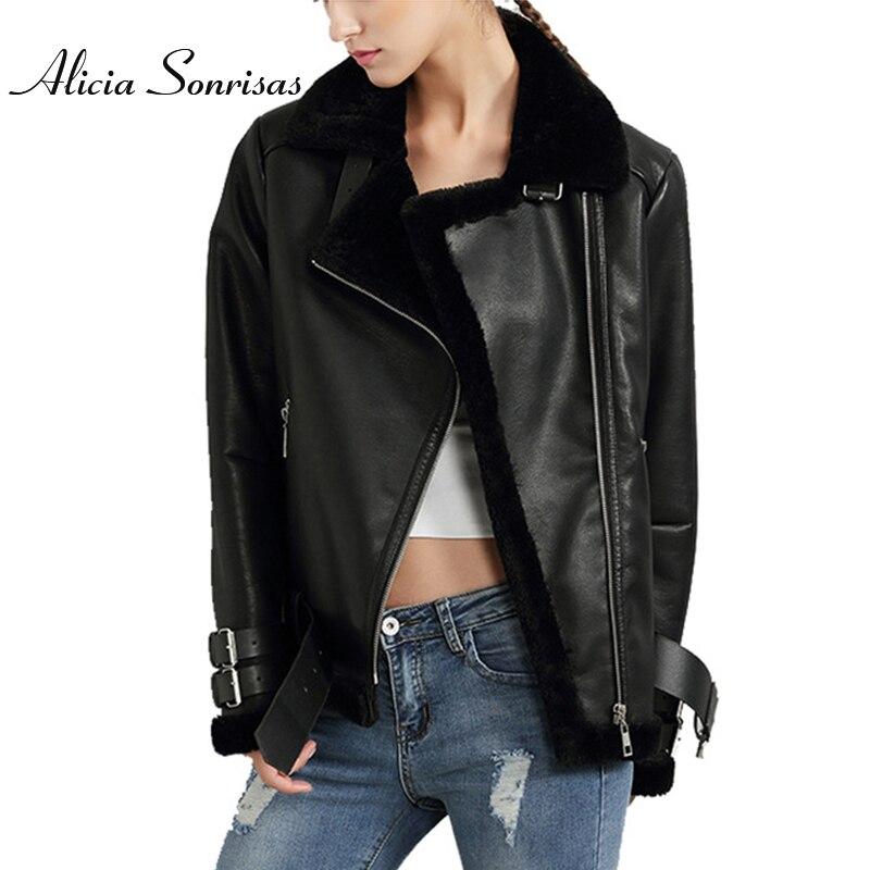 Черные, красные женские пальто из искусственной кожи и берберской замши, винтажные мотоциклетные утепленные куртки, теплые пальто из искусственного меха U306111
