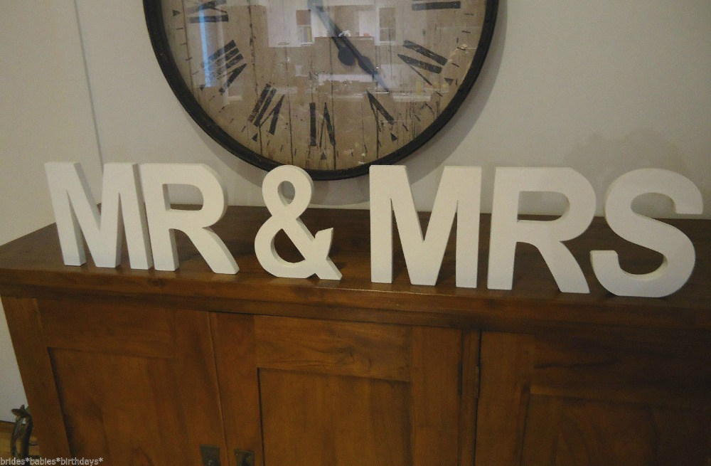 Free Shipping MR & MRS Ready Made White Wooden Letters