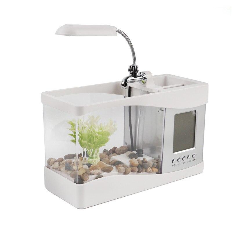 USB acrylique mini aquarium LED pour aquarium éclairage lumière avec réveil pour salon chambre bureau décoration accessoires
