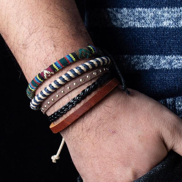 12 Style Metal Leather Bracelets Men Jewelry Vintage Classic Retro Plant Charm Bracelet Bangles Homme Male Jewellry 20.5CM 3