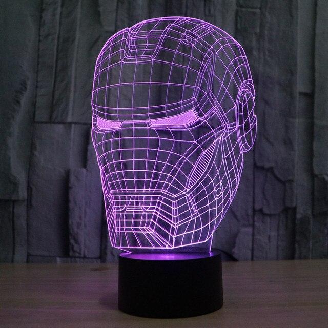 2016 Новый Мстители Альянс Железный Человек 3D LED Красочный Градиент Сенсорный Выключатель Акриловые Освещение Новизны Любителей Аниме Собирать Игрушки