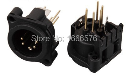 Noir 3 Broches XLR Chassis Socket avec Solder Terminals in Square Patter