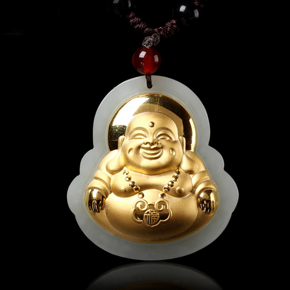 White Jade Stone Necklace Pendant Fine Carving Gold Buddha Necklace Pendant Good Luck Buddha for Lovers Men Women grade a pale green original stone carving round laughing buddha pendant necklace charm men and women