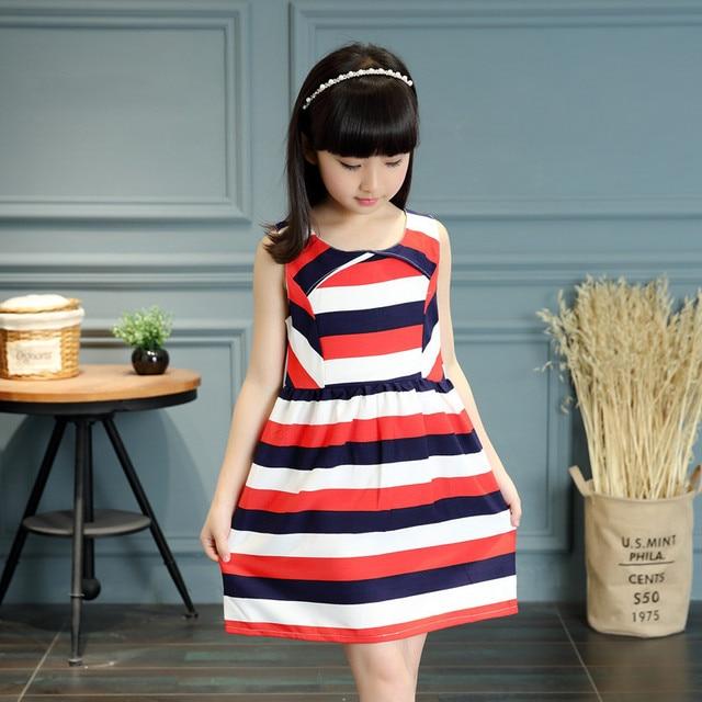 420fb28b653 red white blue striped little teenage girl dress 2017 summer style fashion  sleeveless girls clothes kids sundress girls dresses