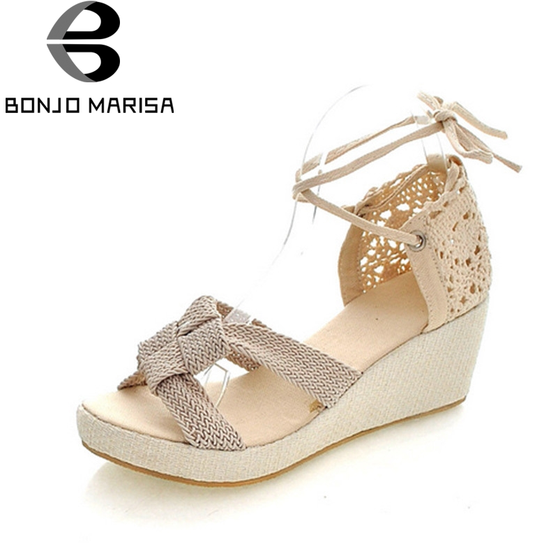 BONJOMARISA Summer Big Size 34-43 Women Sweet Breathable Sandals Knot Design Comfort Platform Wedges Shoes Woman Leisure Shoes bonjomarisa 2018 summer sweet concise women sandals big size 33 43 fashion beading bow shoes woman low chunky heels women shoes